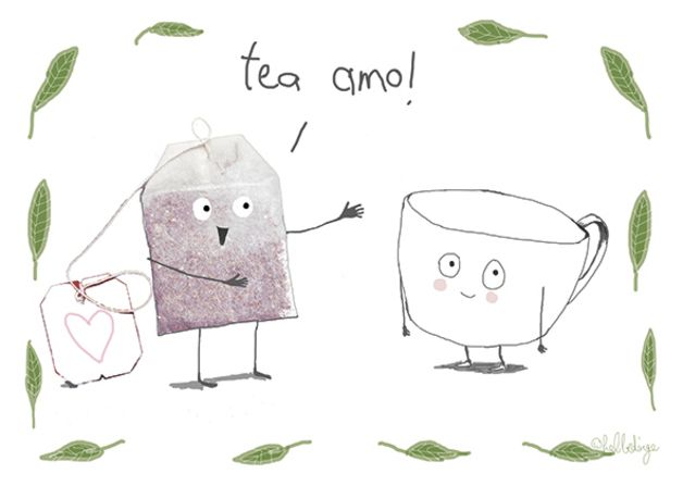 Postkarte mit verliebtem Teebeutel für Teetrinker / post card for tea lover made by hebbedinge via DaWanda.com