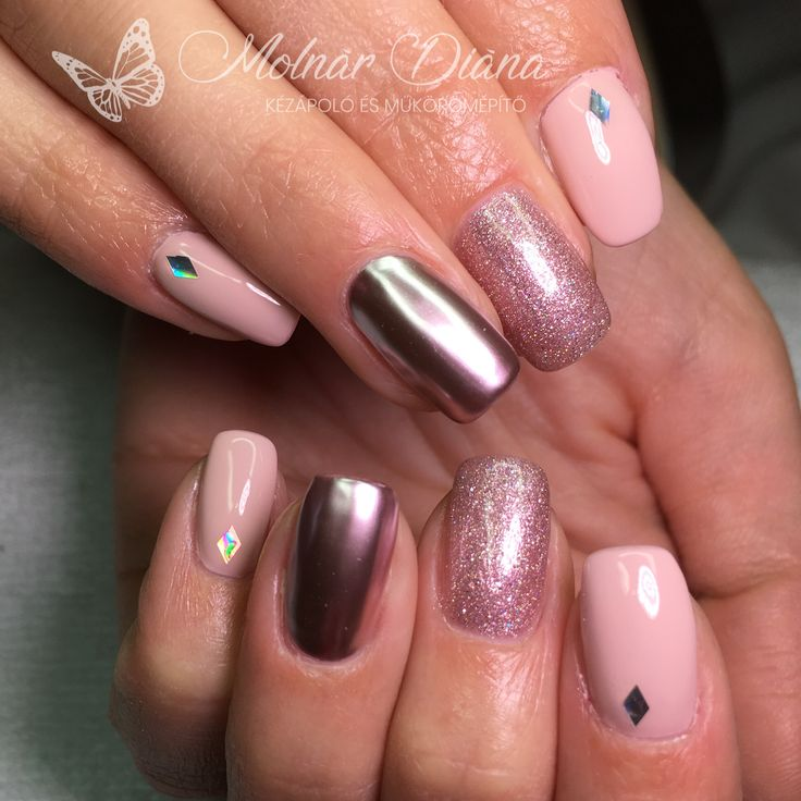 #nail #nailart #chromepearl #körömépítés #köröm #pinknails  CN 3S 42, 51, ChroMe 16