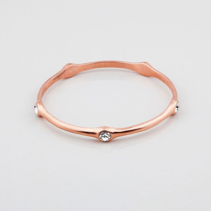 Wild Heart Collection (B1268) - Rose gold bangle embellished with classic Swarovski crystals