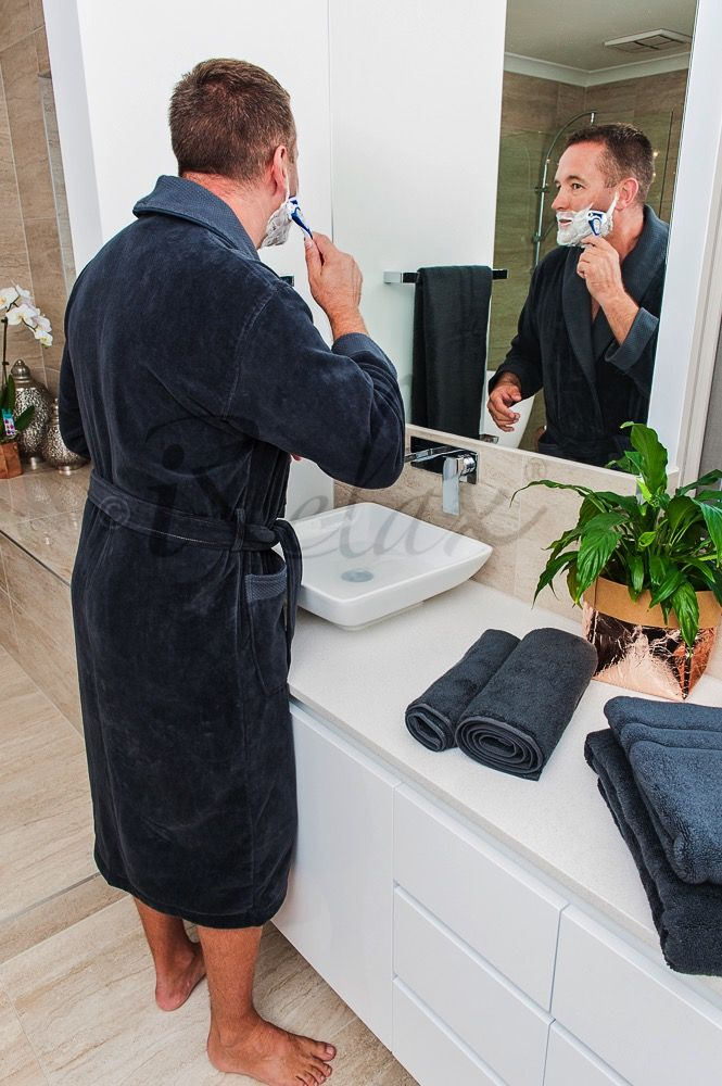 Charcoal Bathrobe & Towels #BespokeBathSet #UltraFineCotton #VelourBathrobe #FluffyTowels #LuxuriousTowel