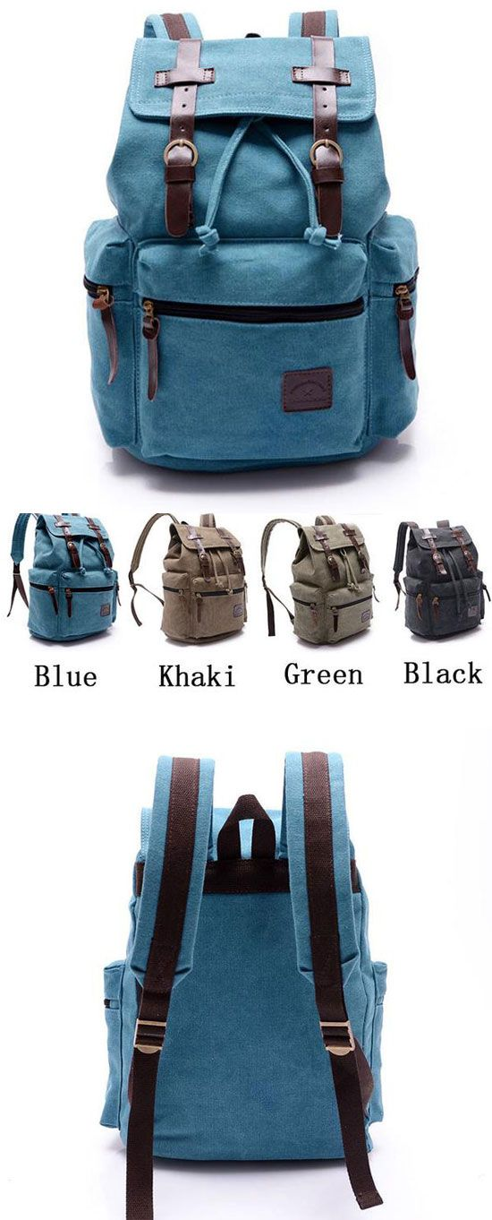 which color do you like? Retro Navy Blue Belt Decoration Canvas Backpack #Backpack #canvas #blue #bag #rucksack #retro