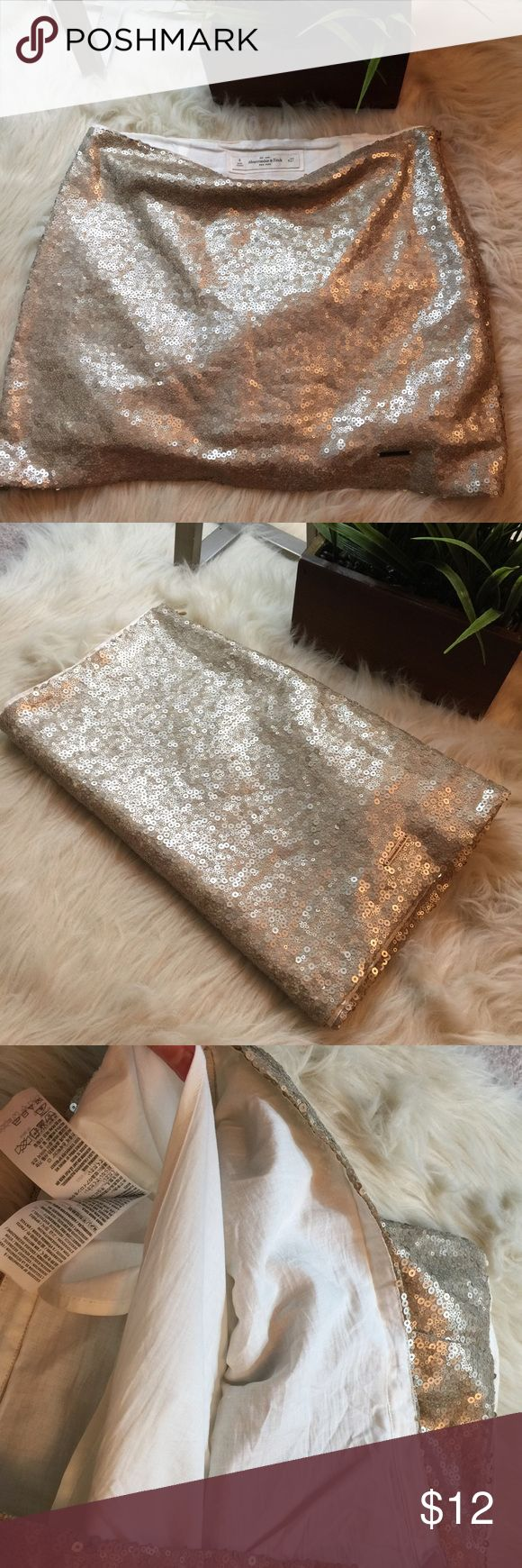 """Matte sequin mini skirt by A&F Gold sequin mini skirt. Approx 12"""" long. W27 size 4 and fits true to size. Perfect condition. Fully lined. Abercrombie & Fitch Skirts Mini"""