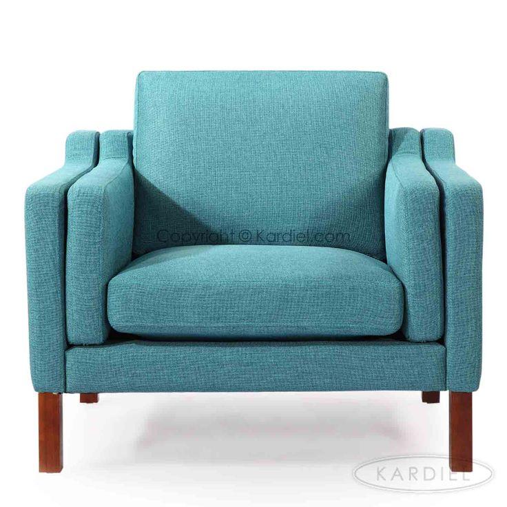 Monroe Mid-century Modern Armchair, Dutch Blue Houndstooth Twill |