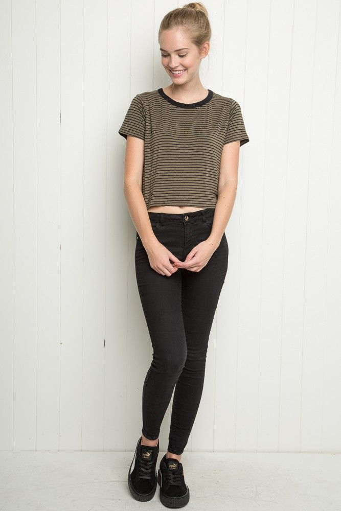 "Brandy ♥ Melville | Mason Top - Just In |  $18 Soft and stretchy blended fabric tee in olive green and black stripes with a black color ringer neck.      95% polyester, 5% spandex     18"" length, 15"" bust     MODEL is 5'6"" with a 24"" waist.     Made In USA     Color: Stripes  MCH014-K69SA250000"