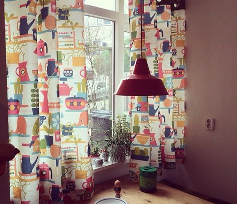 A Vintage Mod Kitchen Fabric. I Love The Curtains!
