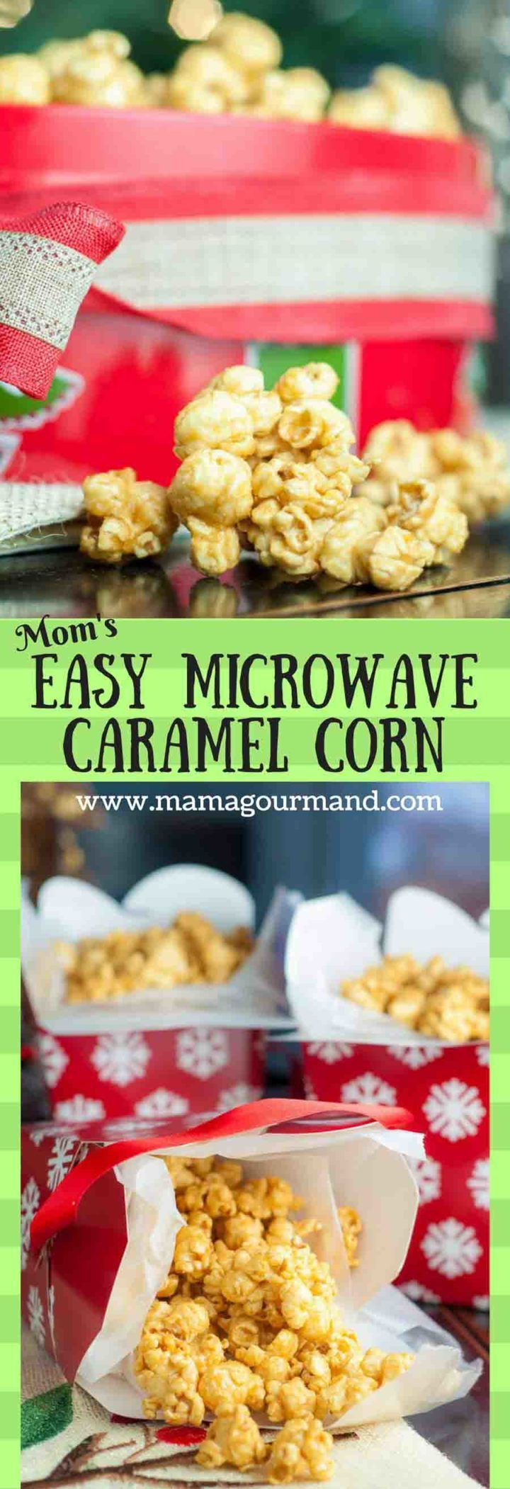 Mom's Easy Microwave Caramel Corn recipe is ridiculously quick and simple to prepare, and the best caramel corn recipe ever! www.mamagourmand.com