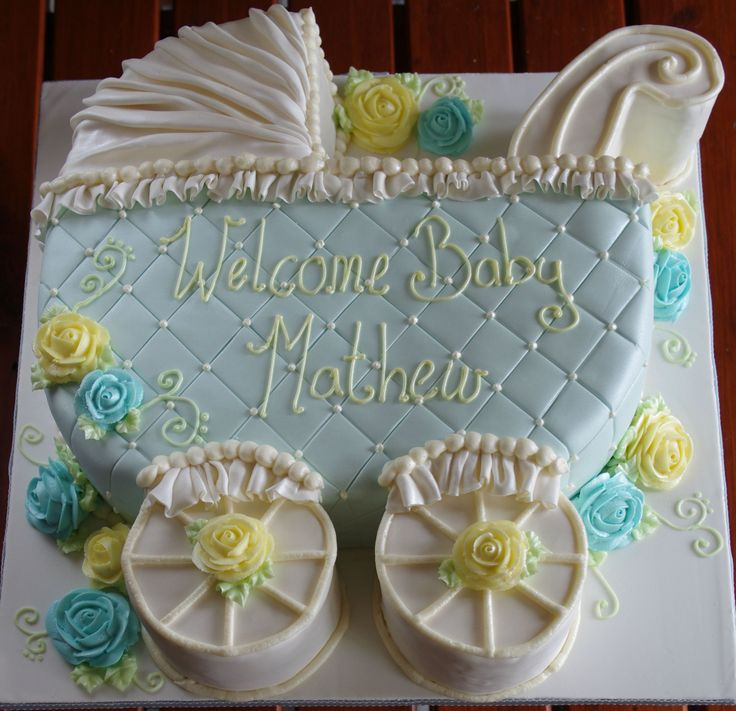 Baby Carriage cake for shower :) (cookie cake icing friends)