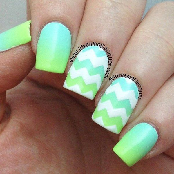Another zigzag detailed gradient nail art in sea green and aquamarine colors.