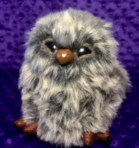 Baby Owl Art Doll up for Purchase in my etsy shop - Made from Faux Fur, needlefelting wool fibers and Polymer Clay