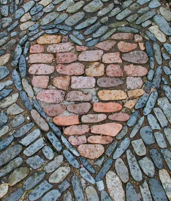 Heart mosaic with rocks