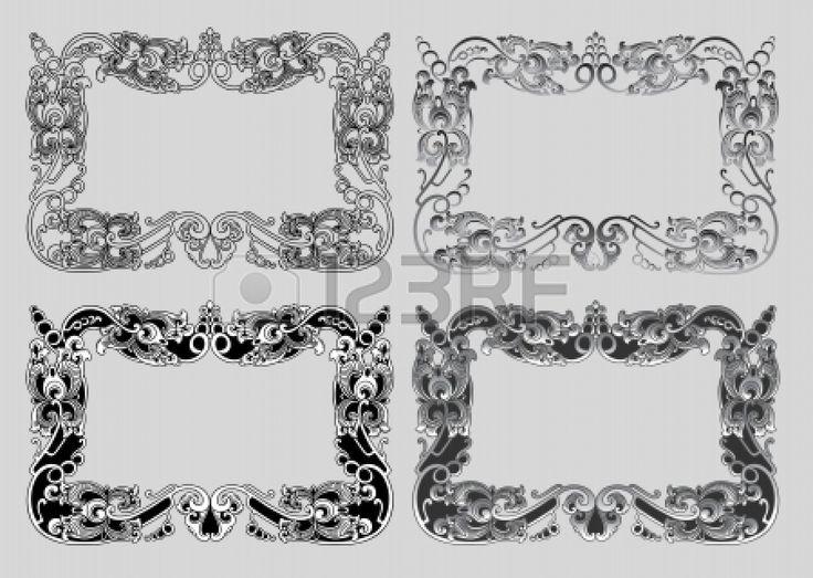 Балийский орнаментом рамка 3а пустая рамка с цветочным орнаментом украшения Иллюстрация