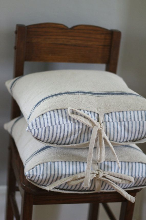 Add a little farmhouse charm in your family room or bedroom with a grain sack pillow cover!  This is listing is for a set for one pillow. There is a ticking stripe sham that goes on the pillow first and a grain sack case that goes on top. They measure approximately 18 by 18  These fit great over the 20 ikea pillow forms. Convo me if you would like to add a monogram.