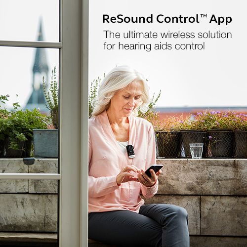 ReSound Control App - The ultimate wireless solution for hearing aids control.  Visit resound.com/en-AU/hearing-aids/apps/control-app