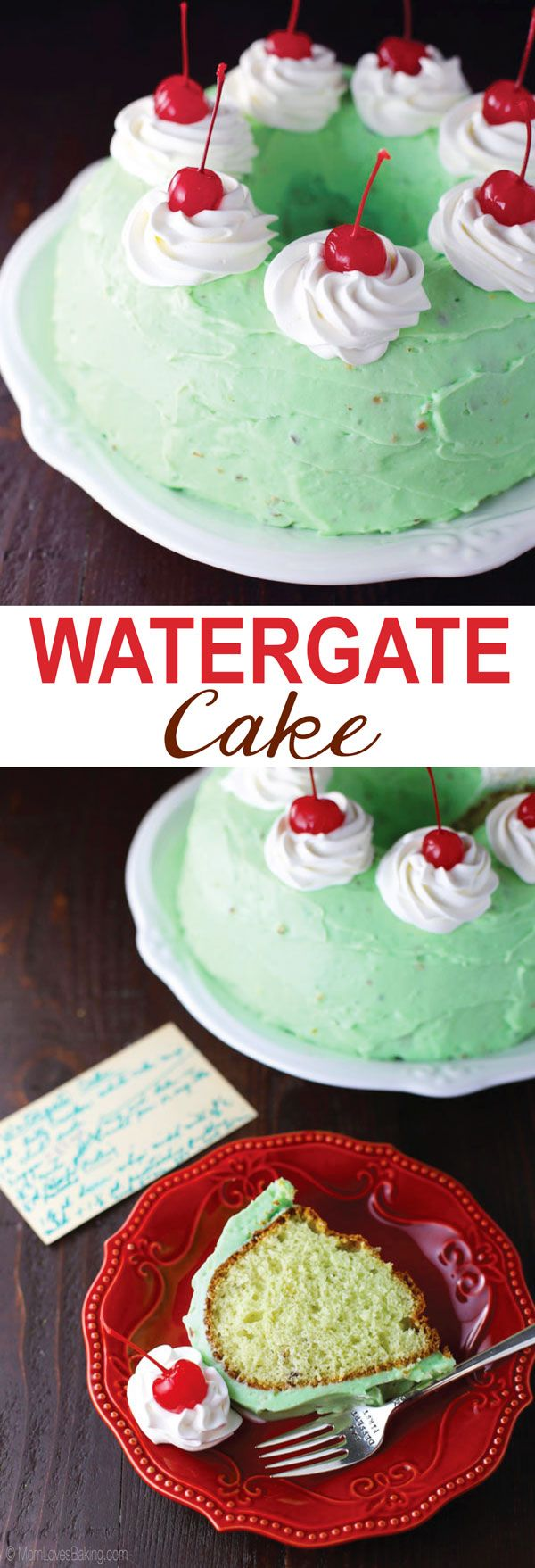Watergate Cake is a pistachio flavored Bundt Cake with pistachio frosting. It was named Watergate Cake because of the 1970s scandal (the cake has a 'cover-up' icing and is full of nuts).
