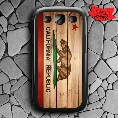 California Flag Wood Samsung Galaxy S3 Black Case