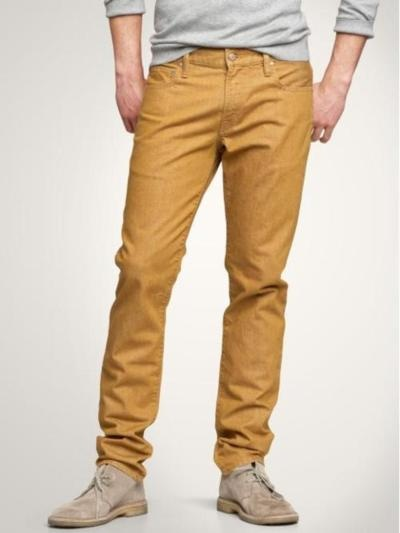 I actually like the bold color with neutral top and shoes. If only Aaron were daring enough.. :/  #mens_fashion