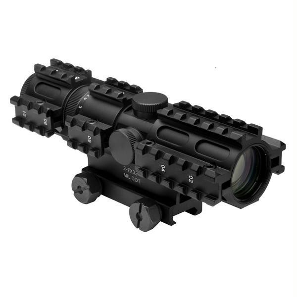 NcStar Tri-rail Series 2-7x32 Compact Scope-3 Rail Sighting System-Mil-dot-Green-Weaver Mount