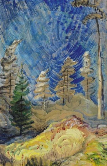 Frivolous September Up the Gorge (Blue Sky and Forest), 1939, Emily Carr. oil on paper on board. Private Collection.
