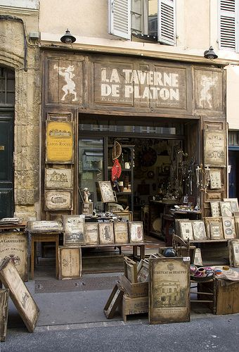 How I should love to idle here and browse to my heart's content... all afternoon...  Old shop in Aix en Provence ~ France