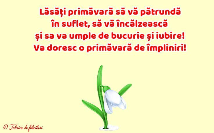 Lăsăți primăvară să vă pătrundă în suflet, să vă încălzească și sa va umple de bucurie și iubire! Va doresc o primăvară de împliniri!