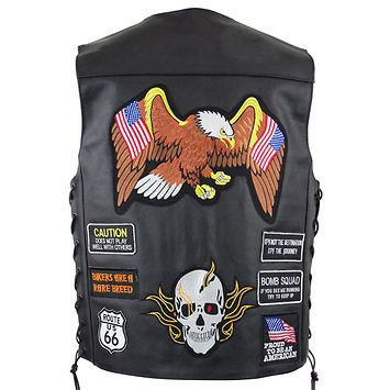 Xelement VP9170 Mens μαύρο Ιπτάμενος αετός και η αμερικανική σημαία Δερμάτινα Vest με κρυφό όπλο τσέπης