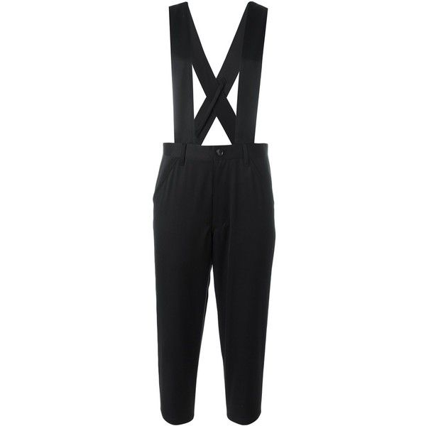 Comme Des Garçons Girl suspenders cropped trousers ($465) ❤ liked on Polyvore featuring pants, capris, black, cropped trousers, cropped capri pants and cropped pants