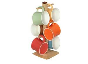 Tibros Multicoloured Bone China Mugs with Wooden Stand Pack of 6 At Rs.399