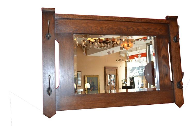 Crafters and Weavers Mission Oak Bevelled Glass Mirror with Coat Hangers Hooks Op505. Mission Oak Wall Mirror with bevelled glass and hooks coat hanger. No Assembly Required. Made of solid Oak, built to last a life time. Shipping is totally secure and insured, Purchase to delivery 3-10 days. Prairie style Craftsman wall mirror.