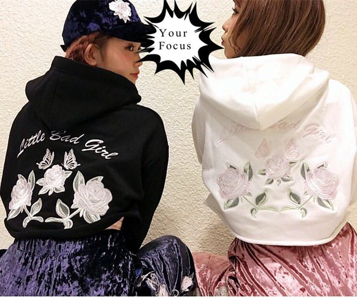 2016 japanese harajuku punk gothic vintage k-pop one spo pink rose and little bad girl embroidery hoodies women cropped tops