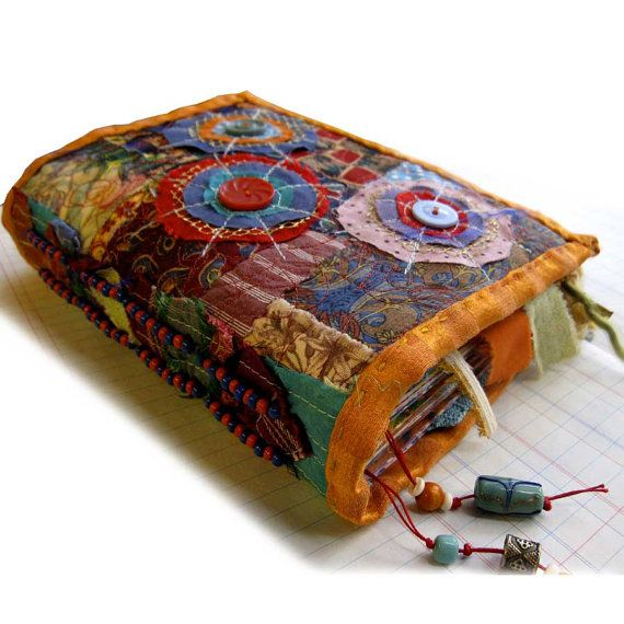 Hand made fabric and decorated paper journal by robruhn on Etsy