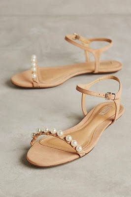 delicate boho pearl wedding sandals #anthrofave
