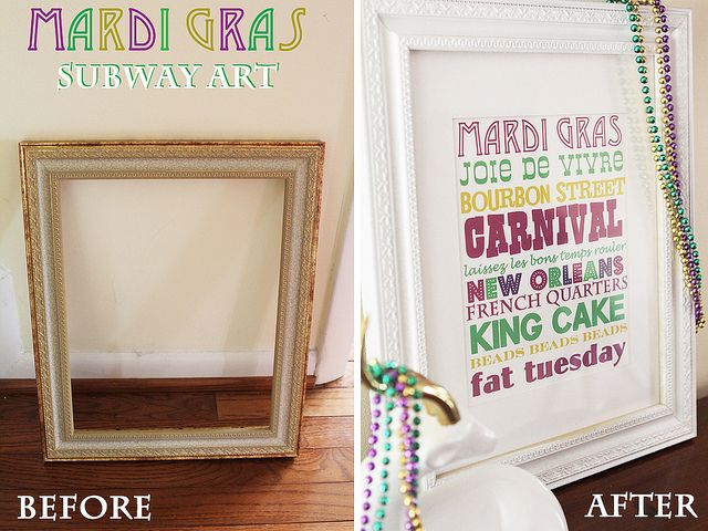Mardi Gras decoration: Gras Parties, Gras Subway, Subway Art, Projects Restyl, Gras Style, Luck Trees, Mardi Gras, Gras Decor, Restyl Mardi