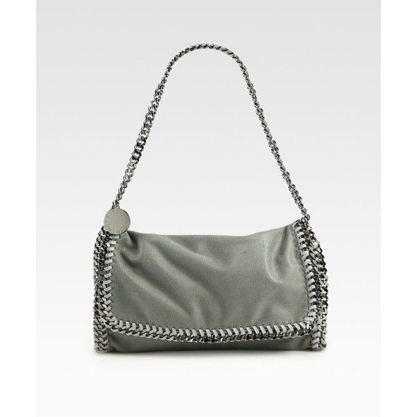 Stella McCartney Falabella Metallic FoldOver Shoulder Bag ($845) ❤ liked on Polyvore featuring bags, handbags, shoulder bags, grey, chain shoulder bag, metallic handbags, gray handbags, metallic shoulder bag and grey shoulder bag