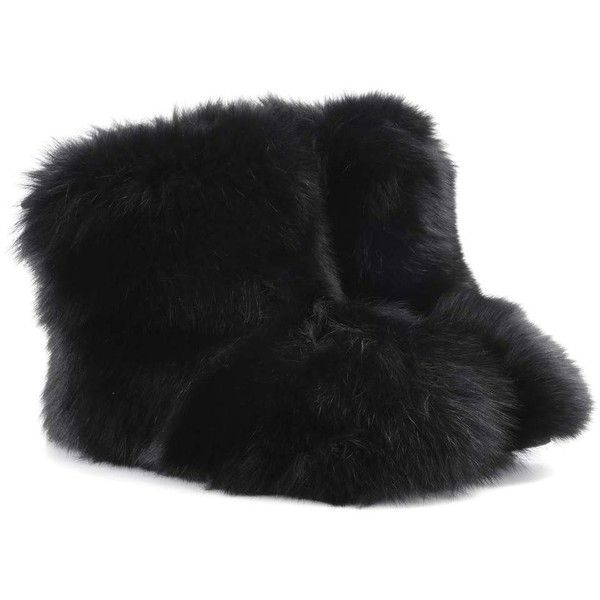 Jimmy Choo Dalton Fur Ankle Boots ($1,855) ❤ liked on Polyvore featuring shoes, boots, ankle booties, black, ankle bootie boots, black ankle booties, black ankle bootie, black booties and jimmy choo booties