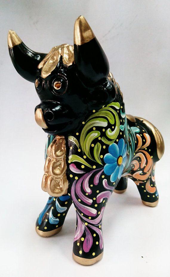 bull ceramic hand-painted bulls of Pucara Peru x1 por Peruartisan
