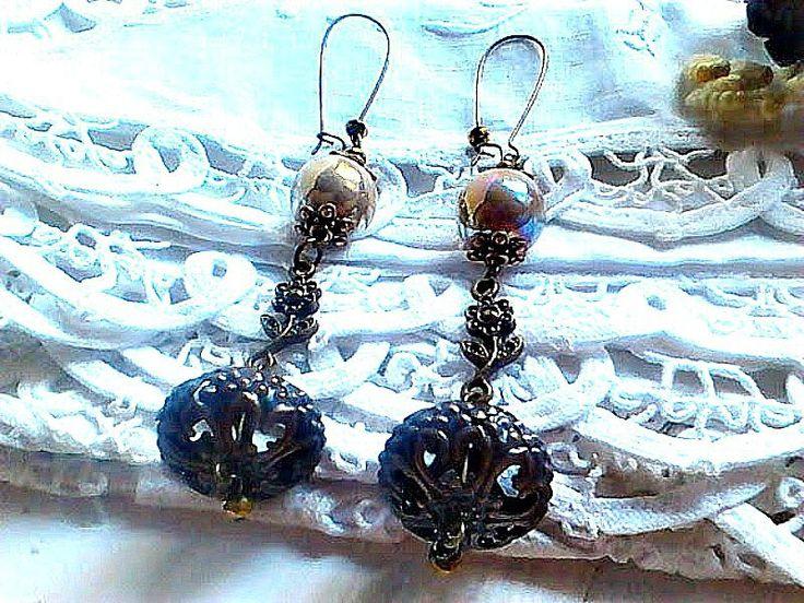 xxl hook earrings, Baroque xxl jewelry, Brown ceramic beaded earrings, woman present, Bronze jewelry, Long drop Baroque stylish jewelry,
