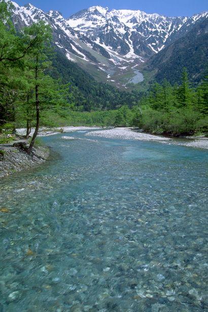 Crystal Clear Water - Azusa River  &  Mt. Hodaka,  Japan