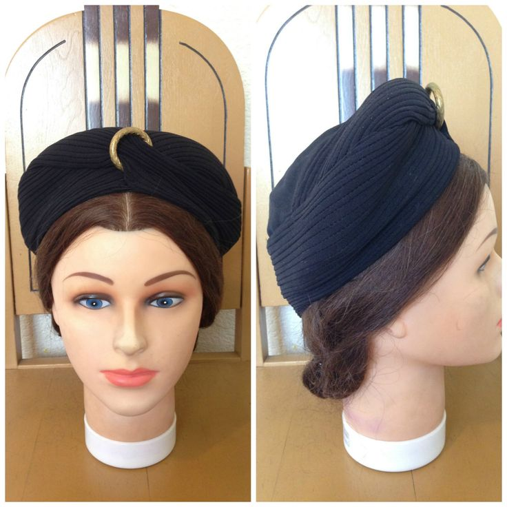 SALE 1940s black rayon crepe turban hat by 30sgal on Etsy