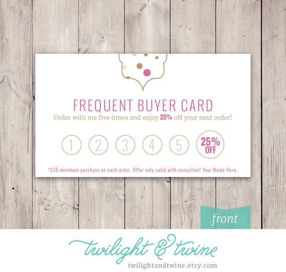 Frequent Buyer Card Template Fresh Thirty One Glam Dots Frequent Buyer Card Custom Pdf In 2020 Printable Business Cards Card Templates Card Template