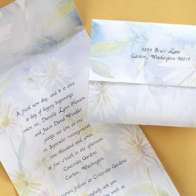 Pastel Daisies Seal-n-Send Wedding Invitations by Invitation Duck