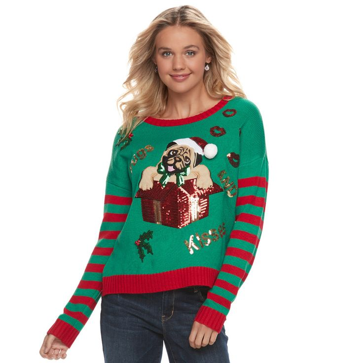 """Juniors' It's Our Time """"Pugs and Kisses"""" Ugly Christmas Sweater, Teens, Size: Medium, Med Green"""