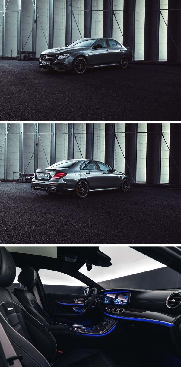 With its sleek design and exclusive interior, the Mercedes-AMG E 63 knows how to impress. [Mercedes-AMG E 63 4MATIC| combined fuel consumption: 9.1-8.8 l/100km | combined CO₂ emissions: 207-199 g/km | http://mb4.me/efficiency_statement]