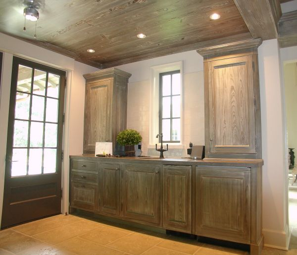 Cypress Cabinets with lime wash