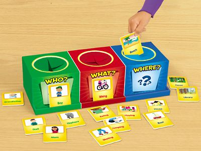 Storyteller's Boxes with WHO, WHAT, and WHERE cards -- would be fun to have the kids create the boxes themselves!