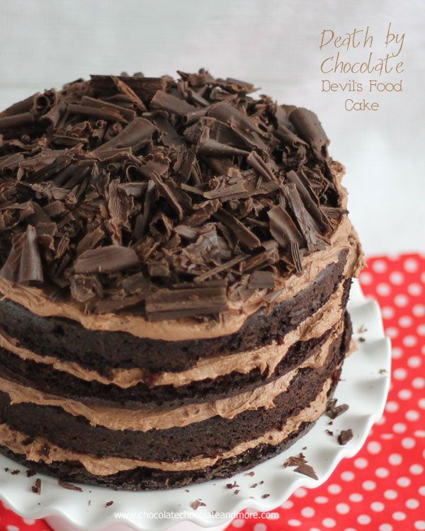 Death by Chocolate Devil's Food Cake-four layers of cake, Rich Chocolate buttercream, topped with Chocolate curls