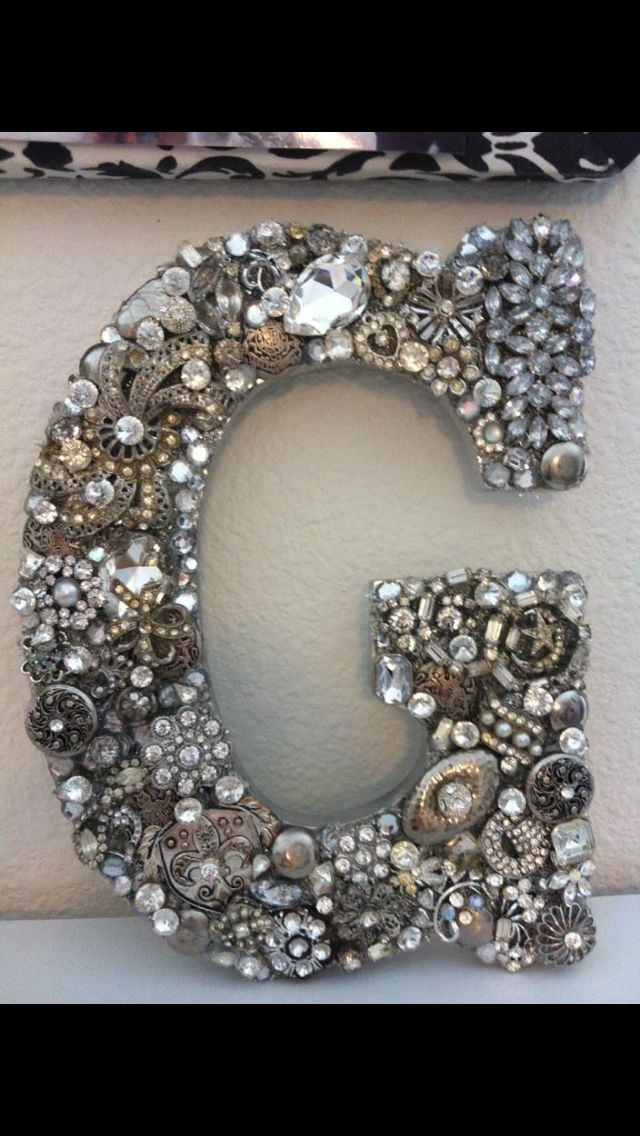 Wooden letter G encrusted with vintage buttons, rhinestones and jewelry