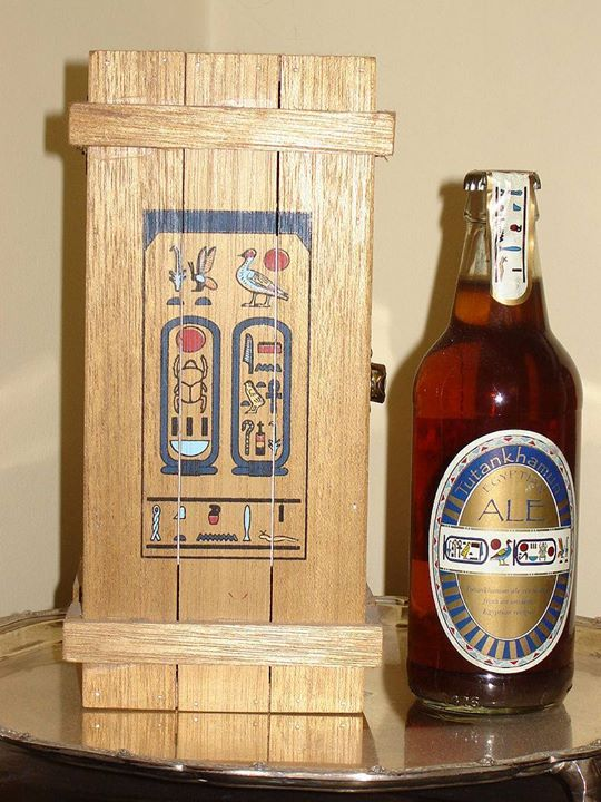 A replica of ancient Egyptian beer brewed from emmer wheat by the Courage brewery in 1996