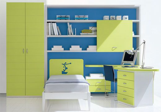 This green and blue kids bedroom design is one example of how important the use of colorful ideas for the kids room is.