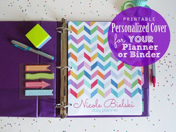 50% OFF Personalized Custom Planner Covers Pdf Printable Pages - your name, choose a title, chevron, ogee, jacks, grid, polka dots, multi