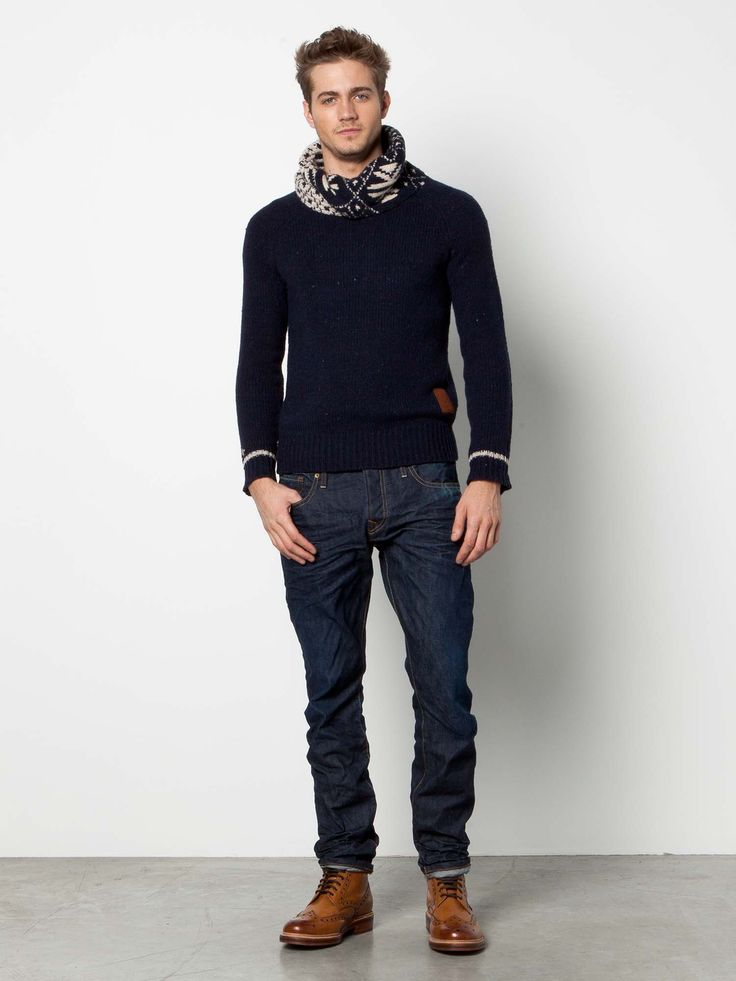 Navy Sweater with Patterned Turtleneck, Dark Jeans, and Wingtip Boots, by Scotch and Soda. Men's Fall Winter Fashion.